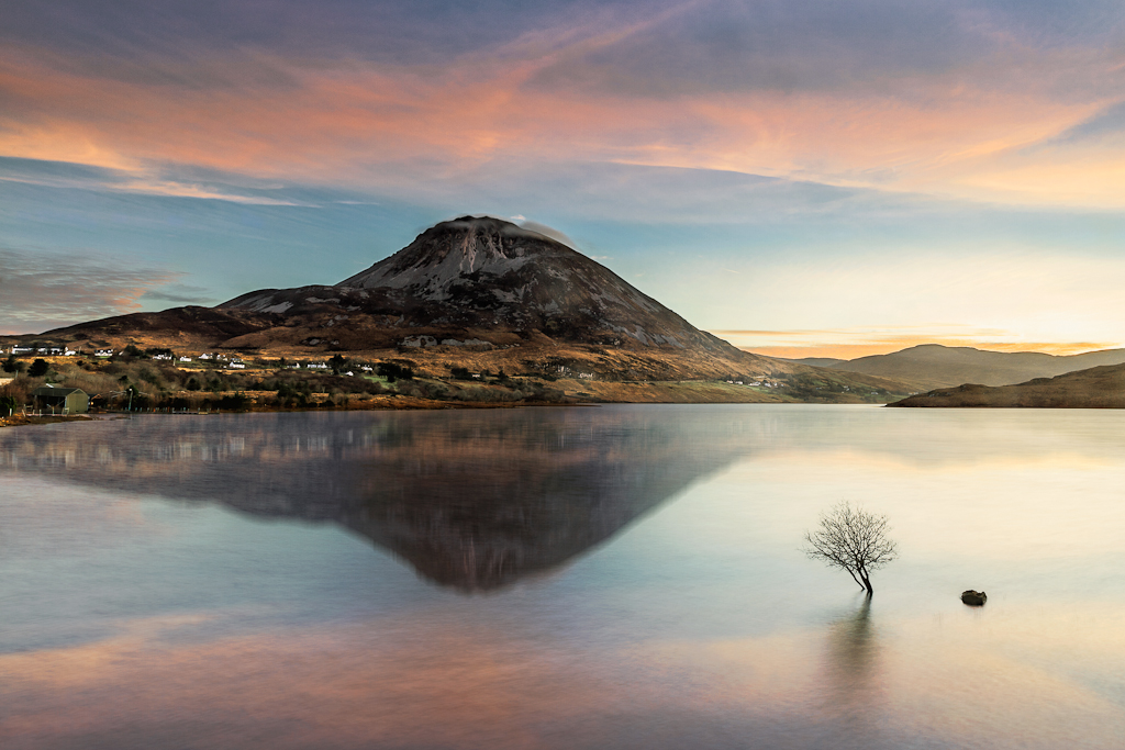 Sunrise over Mount Errigal, Co. Donegal reflecting into Dunlewey lough